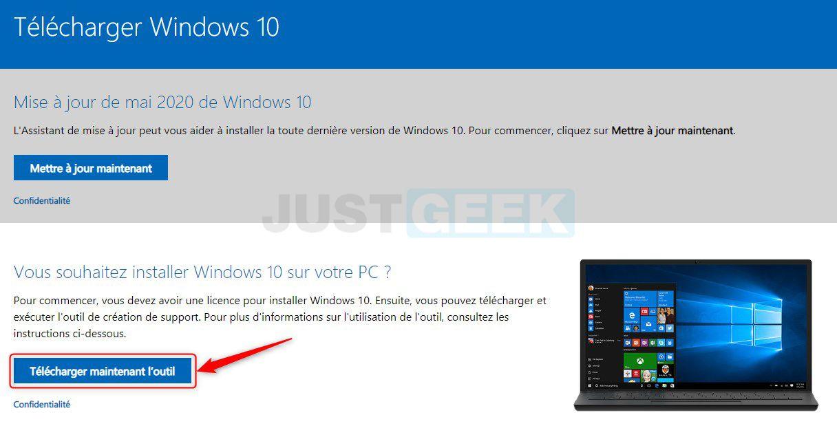 Télécharger l'outil de création de médias Windows 10