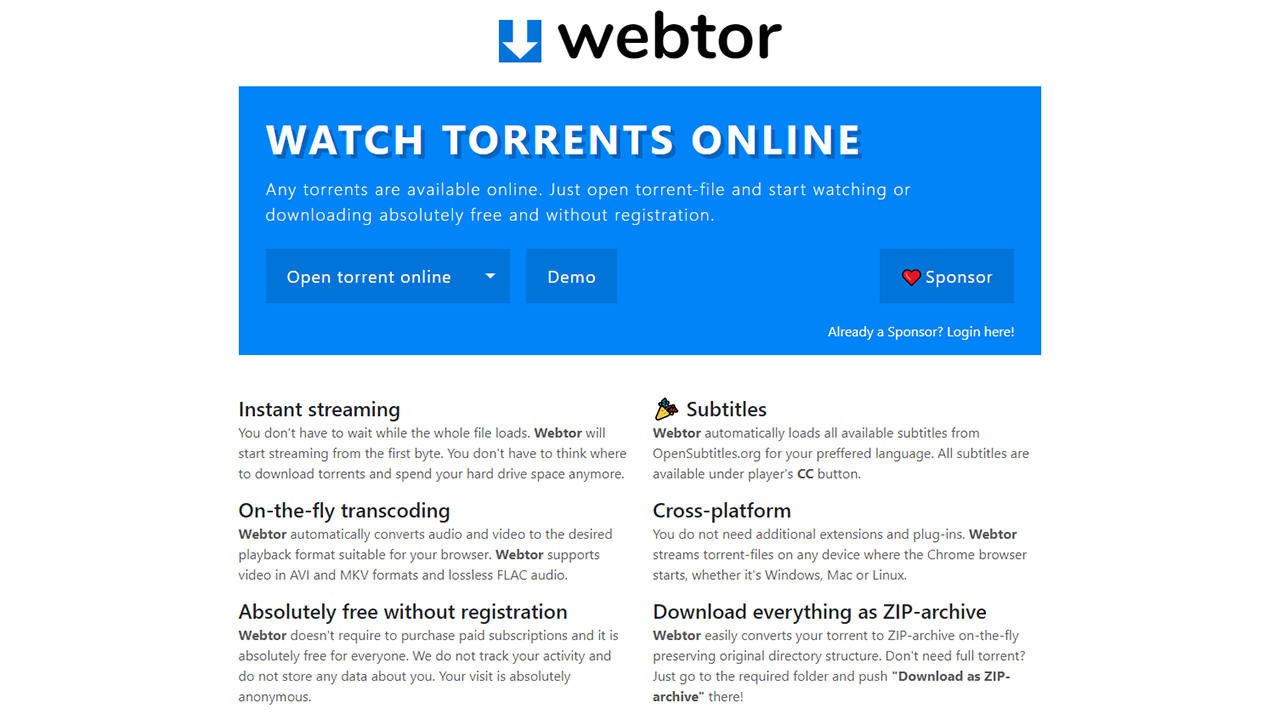 Webtor.io : Regarder un fichier torrent en streaming