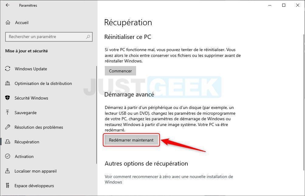 Étape 4 : Accéder à l'UEFI depuis Windows 10