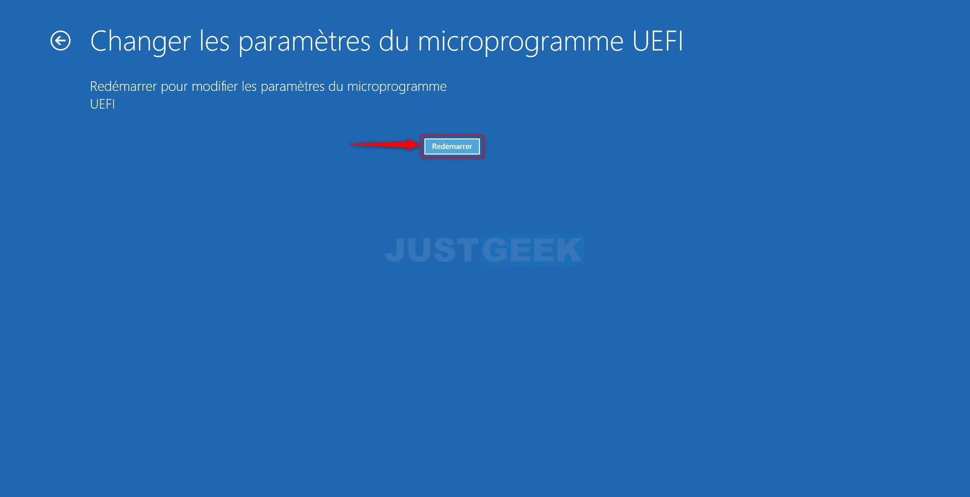 Étape 6 : Accéder à l'UEFI depuis Windows 10