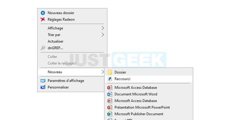 Créer un nouveau raccourci dans Windows 10