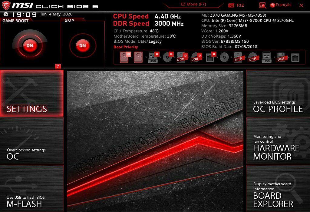 UEFI de la carte-mère MSI Z370 GAMING M5