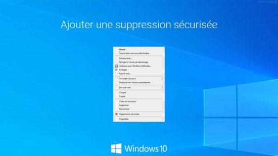 Windows 10 : ajouter une suppression sécurisée au menu contextuel