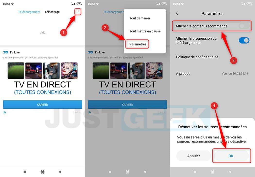 Désactiver les recommandations dans l'application Téléchargements