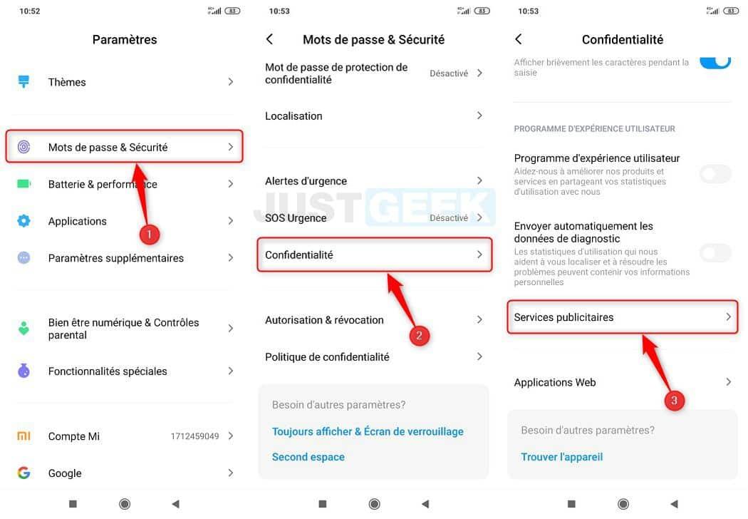 Désactiver les recommandations publicitaires personnalisées sur un smartphone Xiaomi