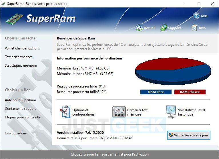 SuperRam : Logiciel d'optimisation de mémoire vive