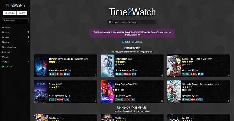 Time2Watch : Films, séries et mangas en streaming et téléchargement gratuit