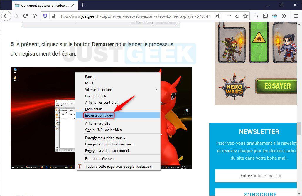 Activer l'incrustation vidéo dans Firefox