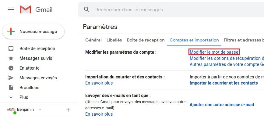 Modifier le mot de passe Gmail
