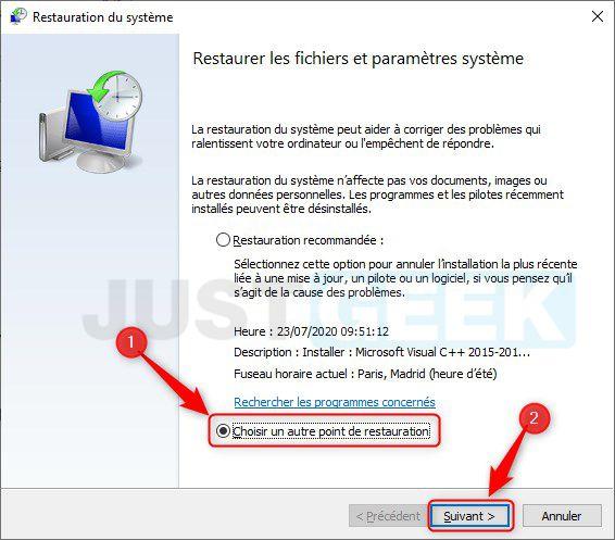 Restaurer les fichiers et paramètres système