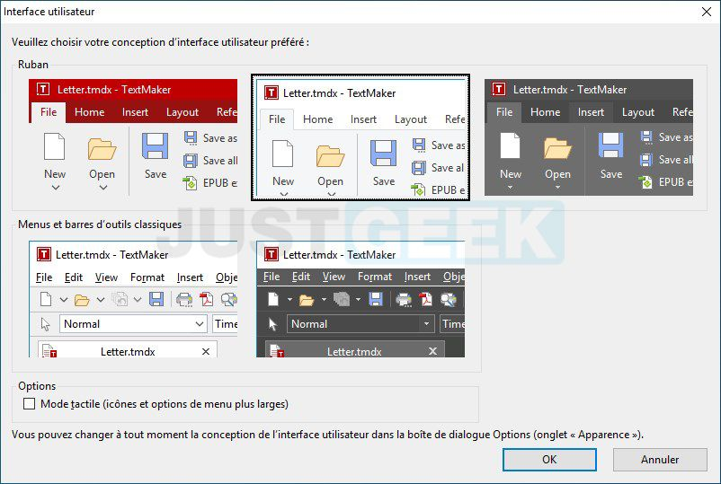Interface utilisateur FreeOffice