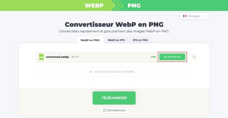 Convertisseur WebP en JPG ou PNG