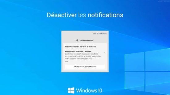 Désactiver les notifications dans Windows 10