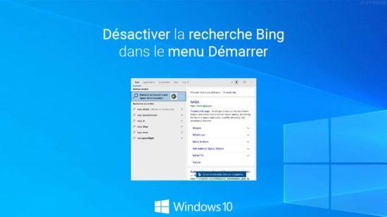 Désactiver la recherche Bing dans le menu Démarrer de Windows 10