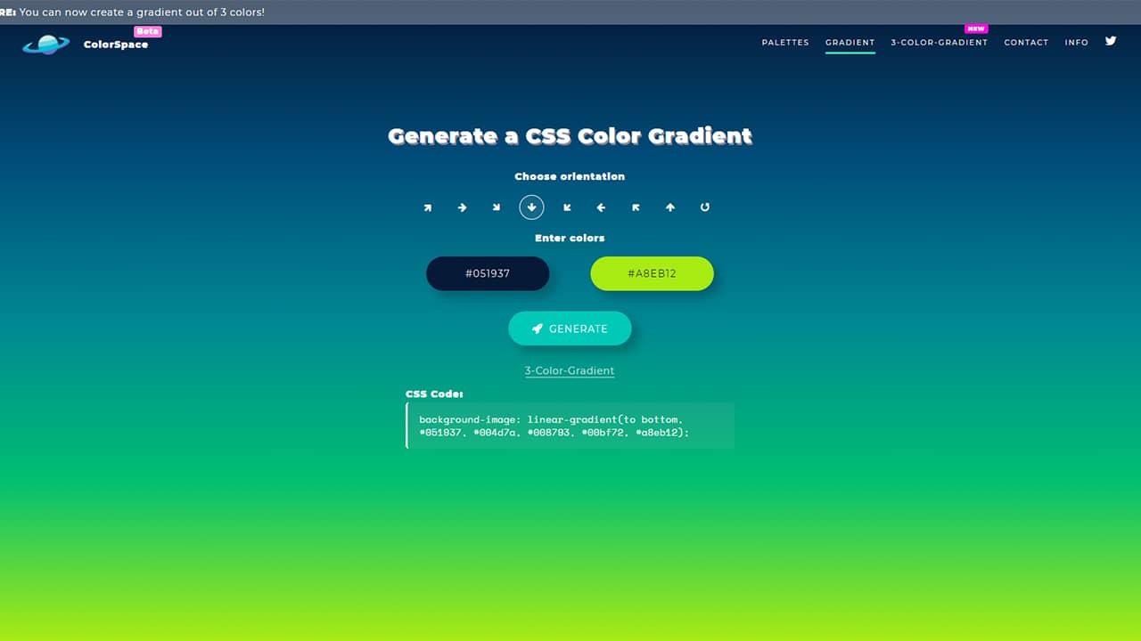 Générer des dégradés CSS (Gradient) avec ColorSpace
