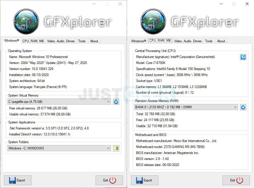 GFXplorer : Tout savoir sur la configuration de son PC