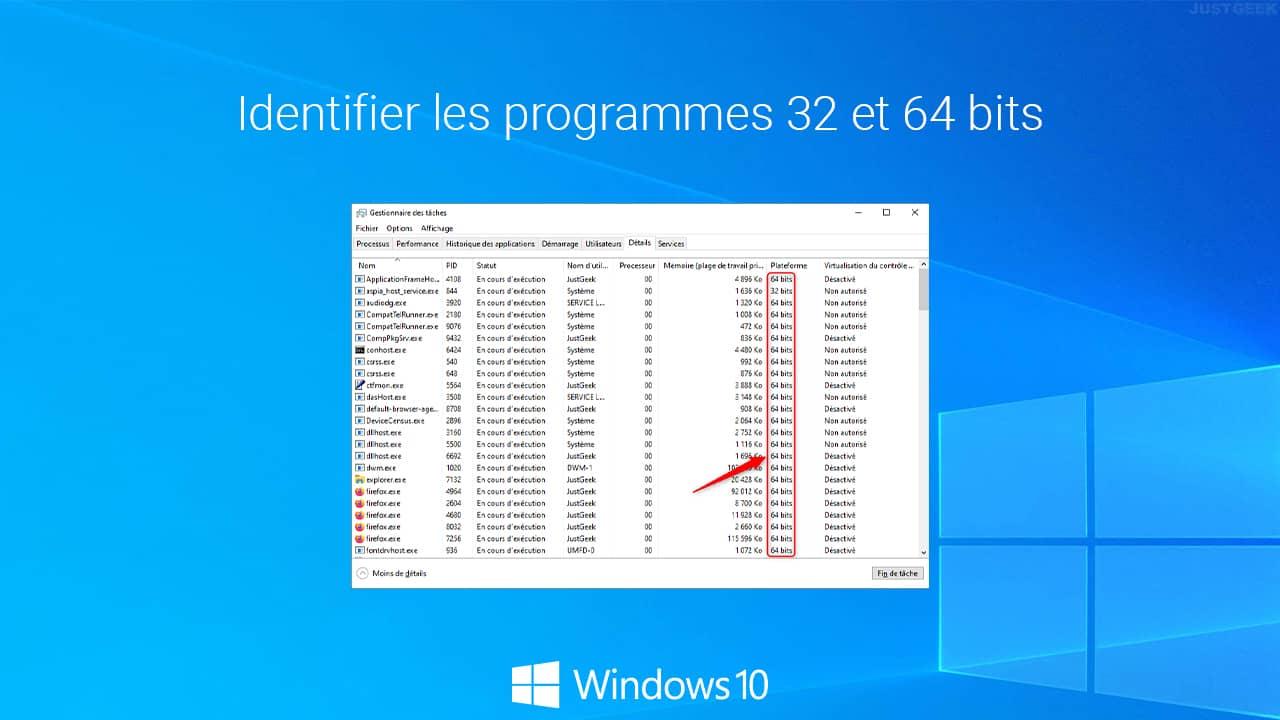 Identifier les logiciels 32 et 64 bits