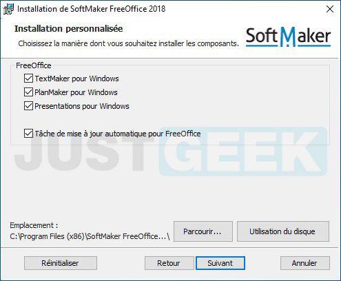 Installation personnalisée FreeOffice
