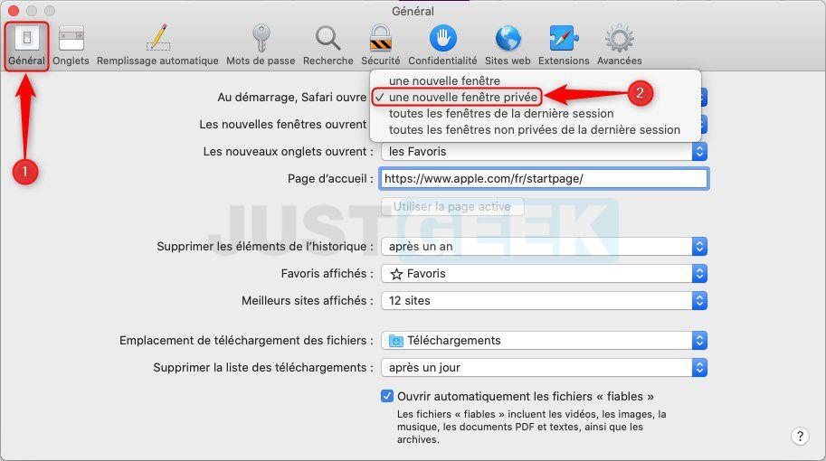 Lancer automatiquement Safari en mode navigation privée