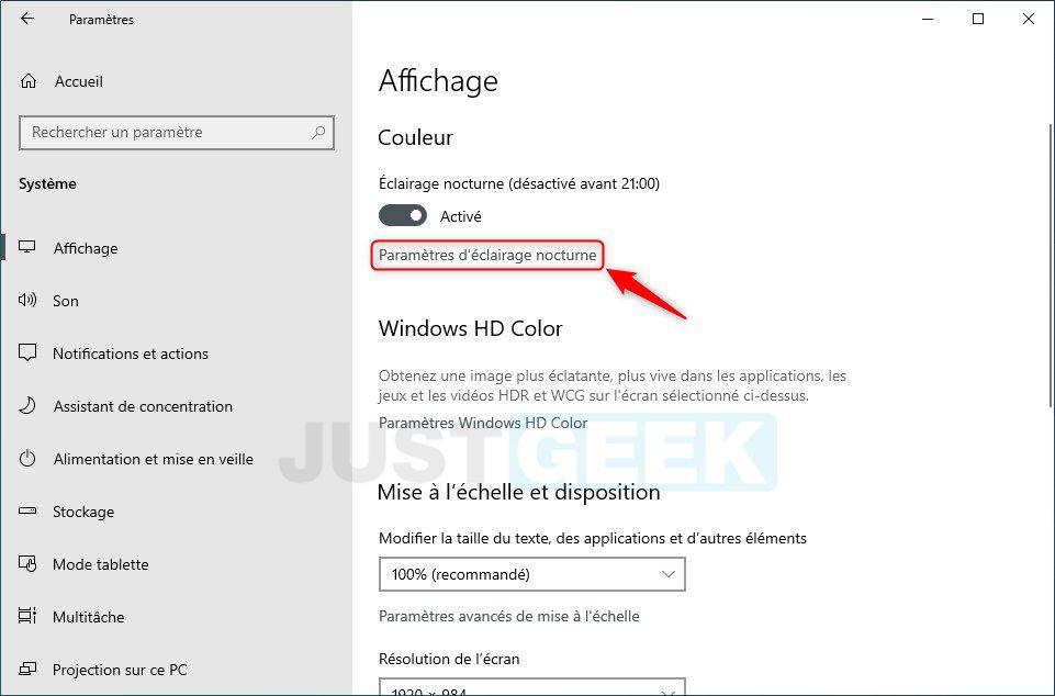 Paramètres d'éclairage nocturne Windows 10