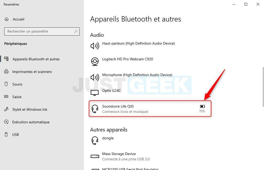 Niveau de batterie d'un périphérique Bluetooth dans Windows 10