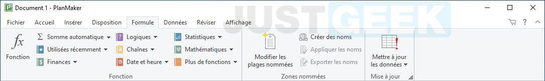 Ruban PlanMaker FreeOffice