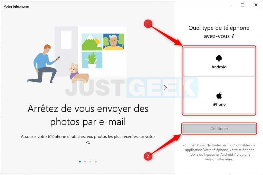 Application « Votre téléphone » sur PC Windows 10