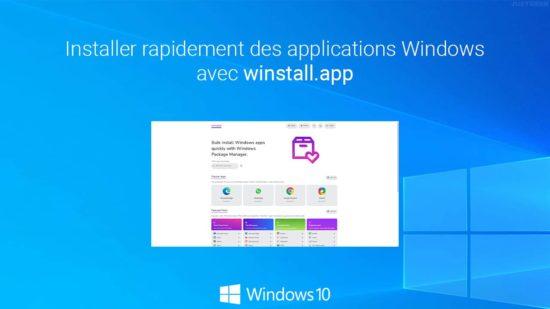 Installer plusieurs applications à l'aide de winget et winstall.app sur Windows 10