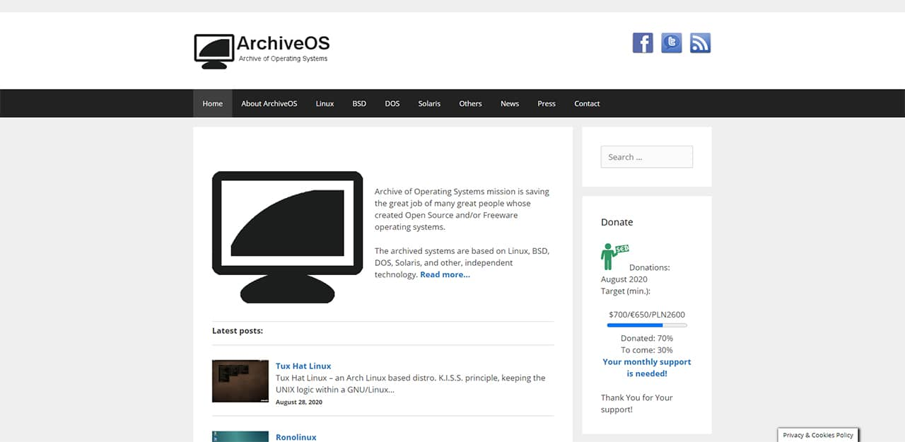 ArchiveOS : Anciennes distributions Linux