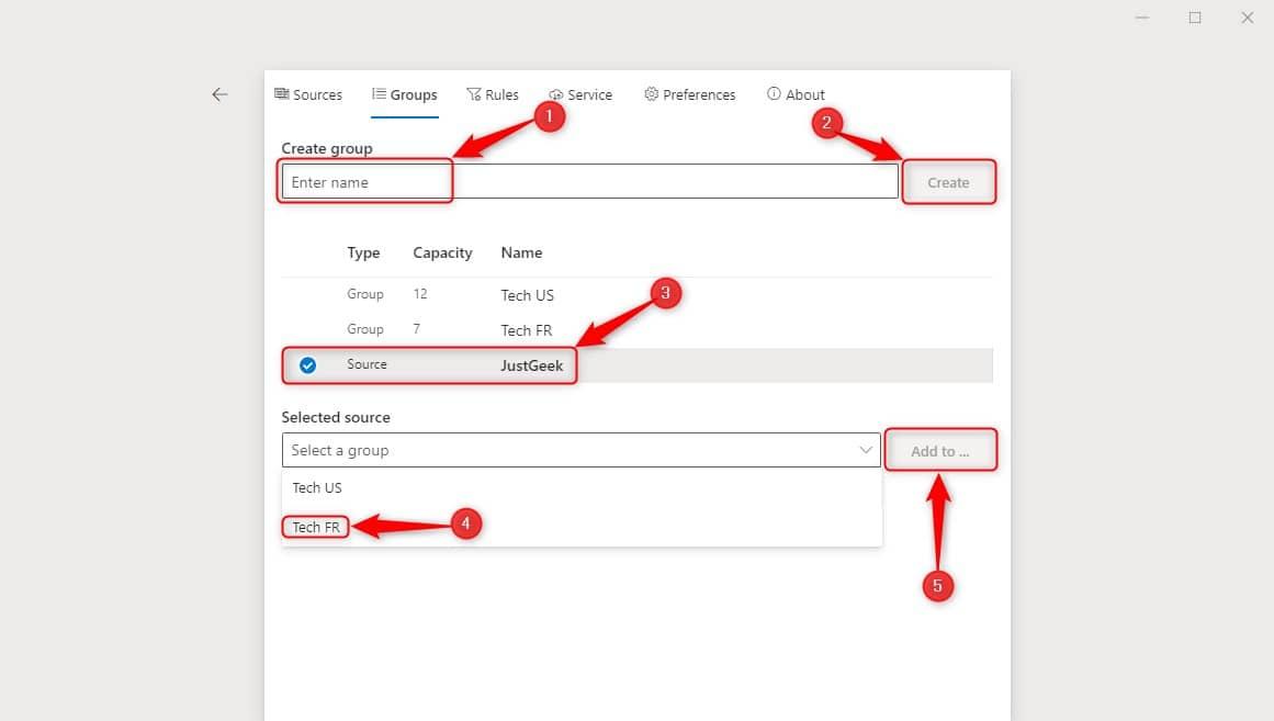 Créer groupes flux RSS dans Fluent Reader