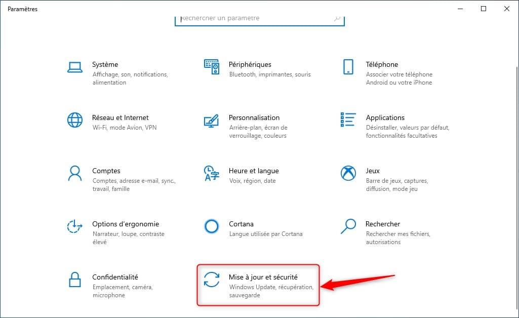 Mise à jour et sécurité Windows 10