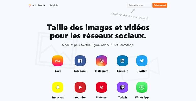 SocialSizes : Tailles des images pour les réseaux sociaux