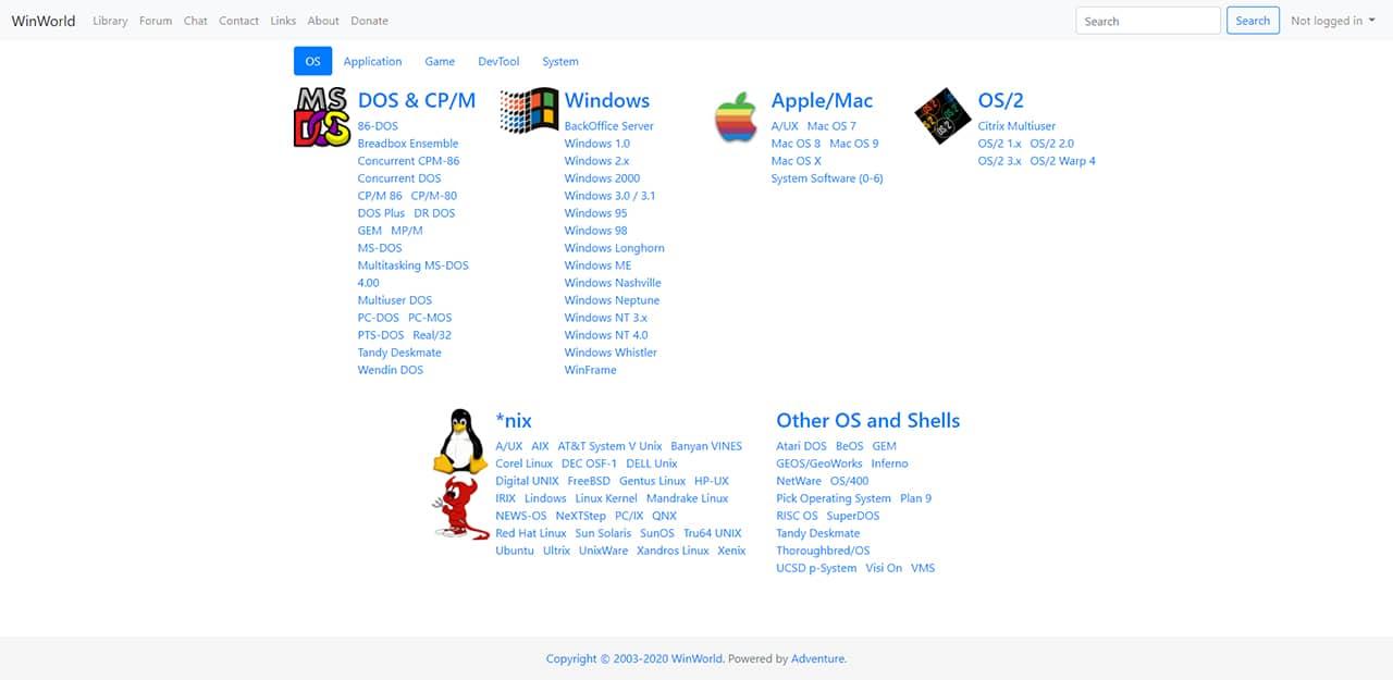 WinWorld : Télécharger anciens systèmes d'exploitation