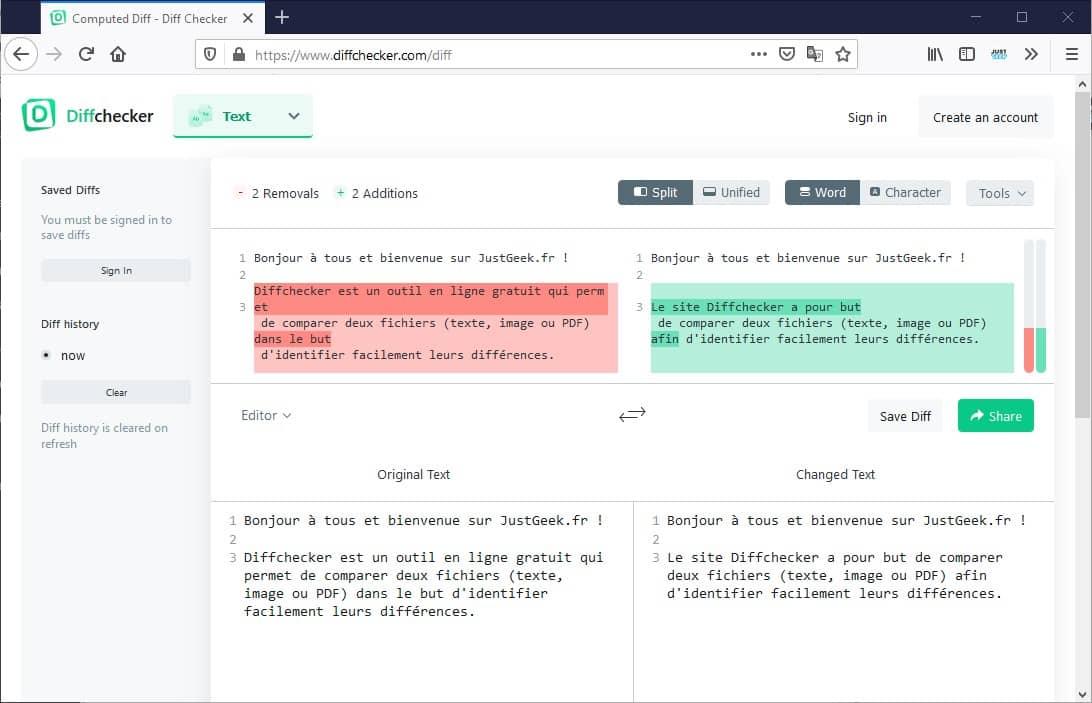 Diffchecker, un outil en ligne pour comparer deux fichiers