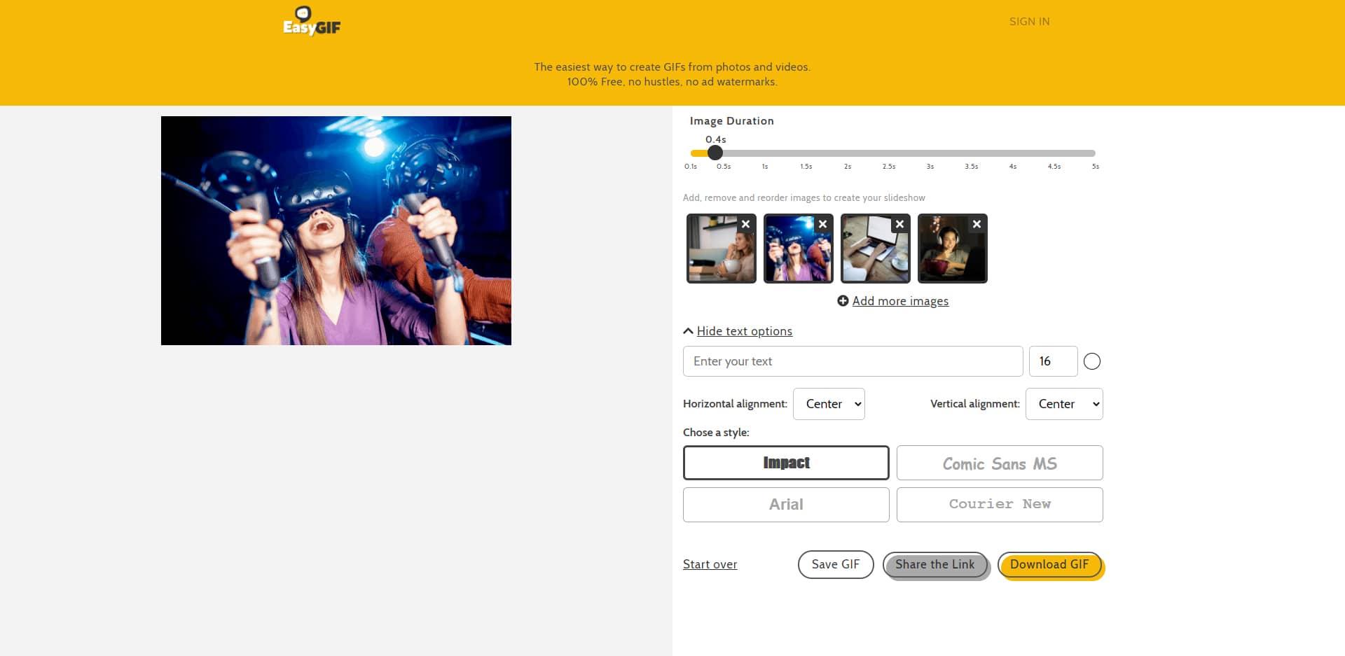 Créer GIF à partir de photos