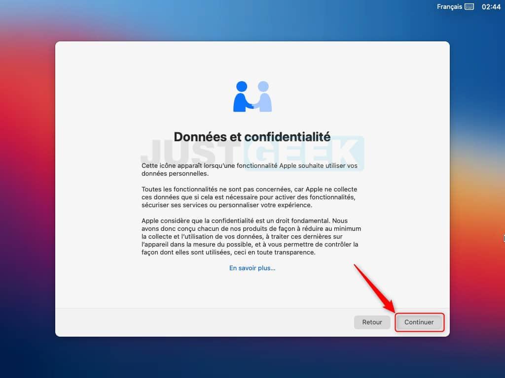 Données et confidentialité macOS Big Sur