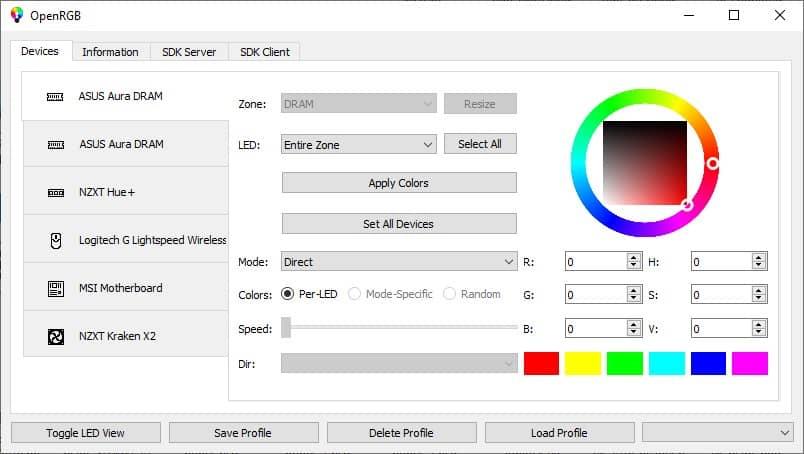 Contrôle éclairage RGB avec OpenRGB
