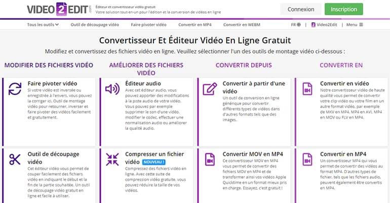 Video2Edit : Convertisseur et éditeur vidéo en ligne gratuit