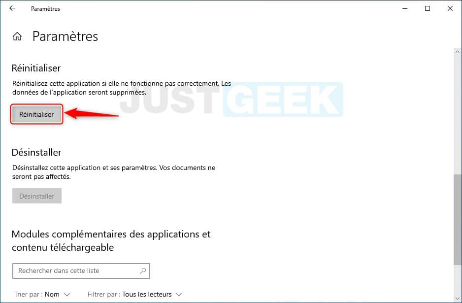 Réinitialiser application Paramètres de Windows 10