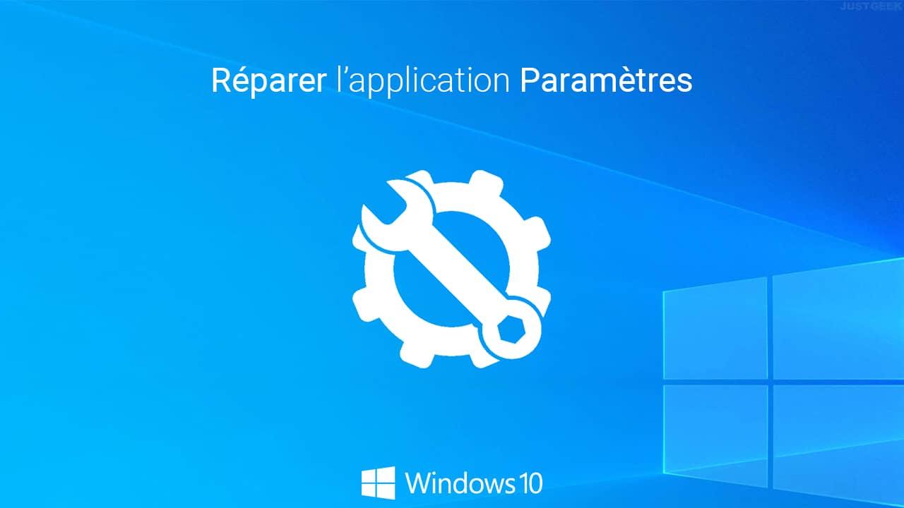 Réinitialiser l'application Paramètres dans Windows 10