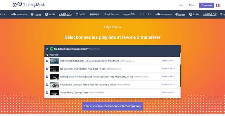 Transférer playlists Spotify vers un autre service musical