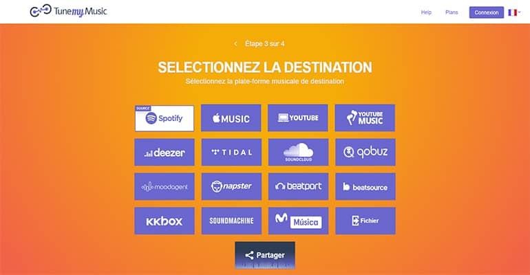 Sélectionnez la plateforme musicale de destination