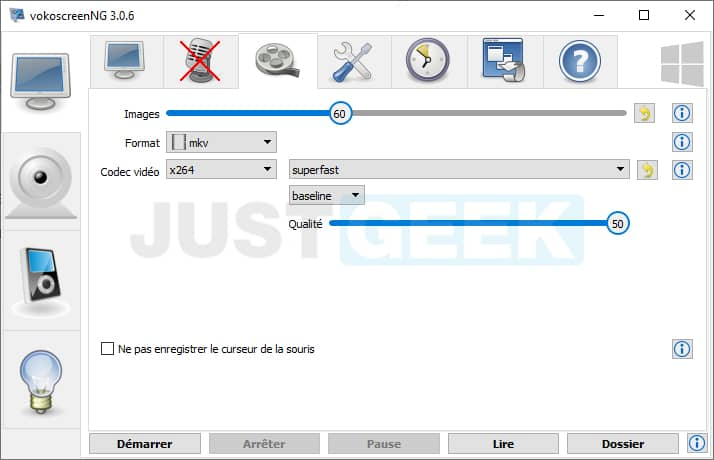 Réglages enregistrement vidéo écran PC