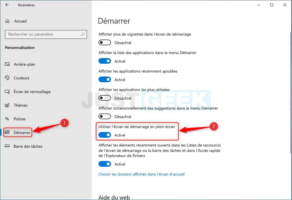 Activer ou désactiver le plein écran du menu Démarrer dans Windows 10