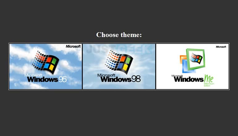 Windows 95, 98 et ME dans navigateur web