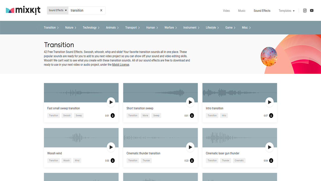 Mixkit : Effets sonores transition vidéo