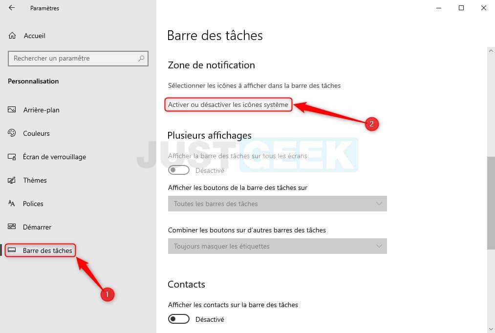 Activer ou désactiver les icônes système dans Windows 10