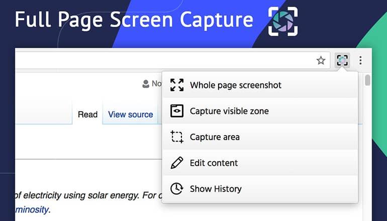 Screenshot : Capture d'écran pleine page
