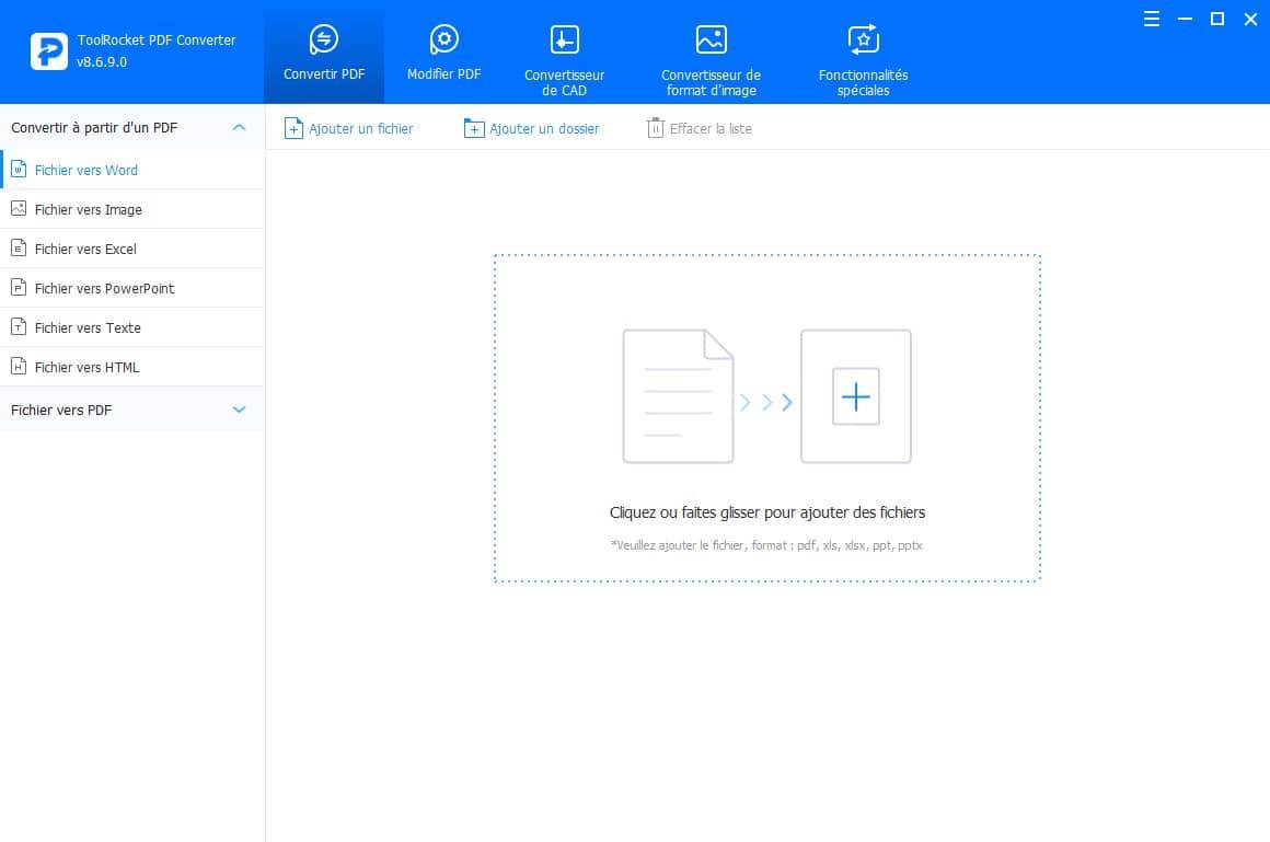 Convertir PDF avec ToolRocket PDF Converter