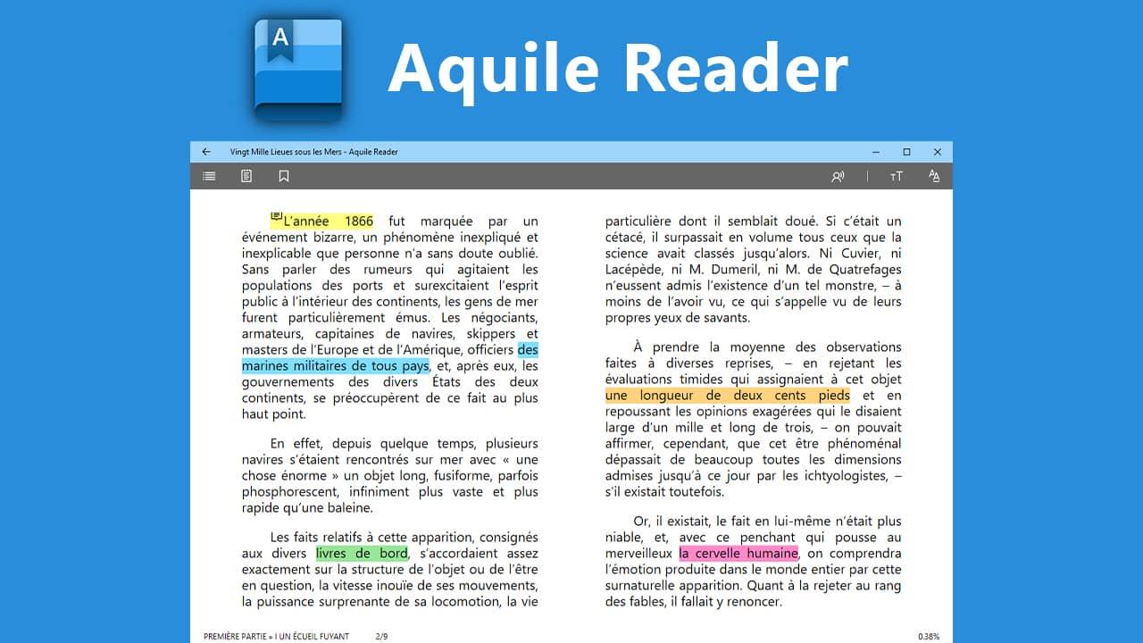 Aquile Reader : lecteur ebook gratuit pour Windows